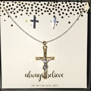 Jewelry - BEAUTIFUL CROSS NECKLACE WITH MATCHING EARRINGS